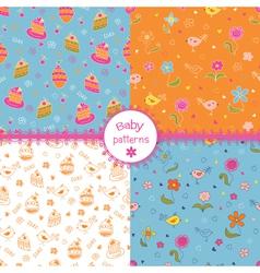 Set of doodle baby patterns vector image