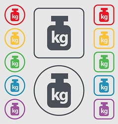 Weight icon sign symbol on the Round and square vector image vector image