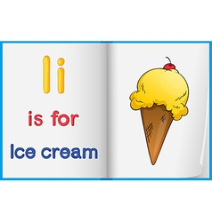 A picture of ice cream in book vector