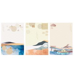 abstract landscape background with japanese icons vector image