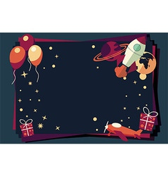 Background with balloons presents rocket ship vector image