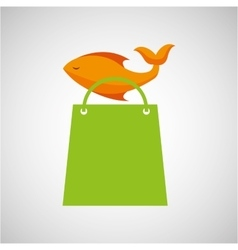 bag shopping food icon fresh fish vector image