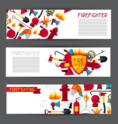 banners with firefighting items fire protection vector image