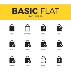 Basic set of Bag icons vector image