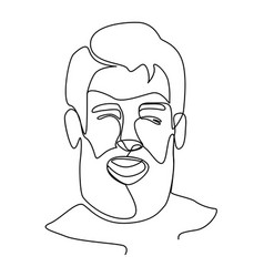 bearded man portrait one line facial expression vector image