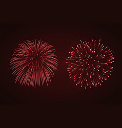 beautiful red fireworks set bright fireworks vector image