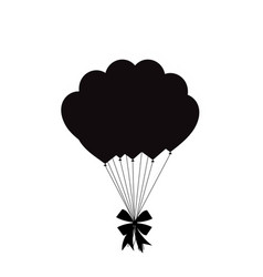 black silhouette of balloons bunch with festive vector image