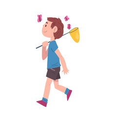 Boy walking carrying butterfly net on his shoulder vector