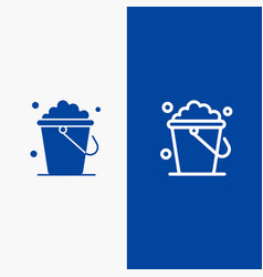 Bucket cleaning floor home line and glyph solid vector
