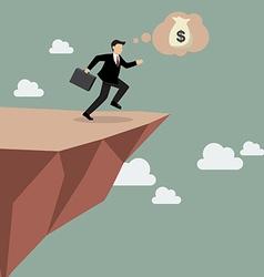 Businessman takes a leap faith on clifftop vector