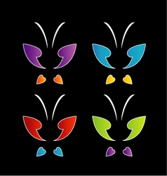 Butterfly logo in rainbow colors vector image