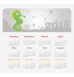 Calendar 2015 year with sea horse vector
