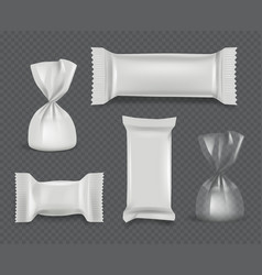 Candy package realistic paper wrappers glossy vector