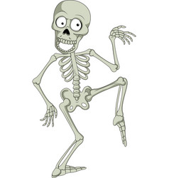cartoon funny skeleton dancing vector image