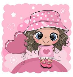 Cartoon girl with pink balloon vector