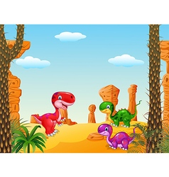 Cartoon happy dinosaur Collection with Prehistoric vector image