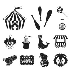 Circus and attributes black icons in set vector