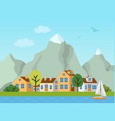 City urban landscape cottages and vector