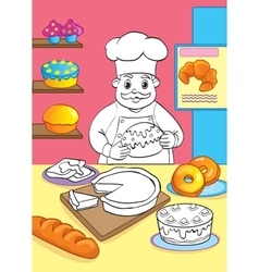 Coloring book of cook with cakes vector