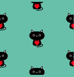 cute black cat holding red heart pattern seamless vector image