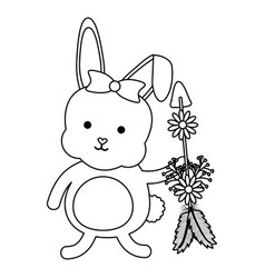 cute little rabbit with flowers and arrows vector image