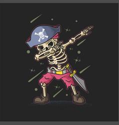 cute pirate skeleton dabbing vector image