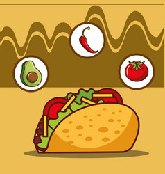 Delicious taco avocado tomato and chili pepper vector