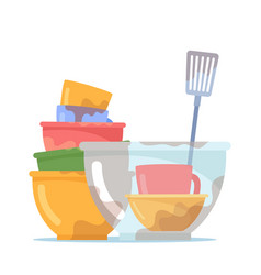 Dirty dishes pile stack bowls or plates with vector