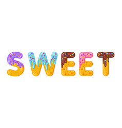 donut cartoon sweet biscuit bold font style vector image