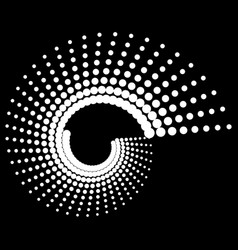 Dotted volute spiral on black art vector