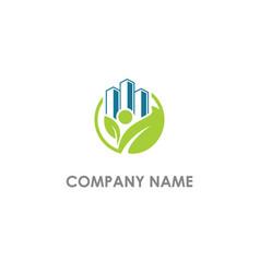 Eco leaf building company logo vector