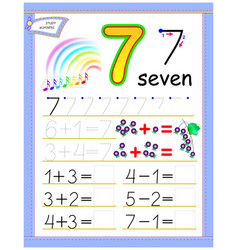 Educational page for kids with number 7 solve vector