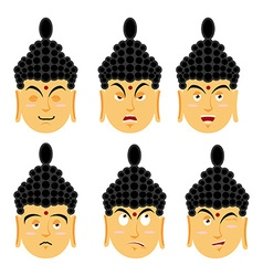 Emotions buddha Set expressions avatar Indian god vector image