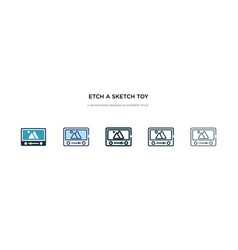 Etch a sketch toy icon in different style two vector