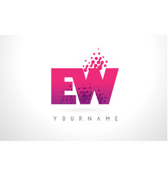 Ew e w letter logo with pink purple color and vector