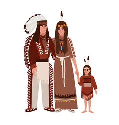 family american indians mother father and vector image