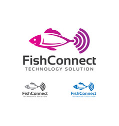 Fish connect logo design vector