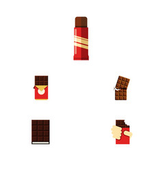 Flat icon sweet set of dessert chocolate bar vector