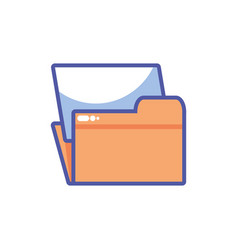 Folder with file sheet in white background vector