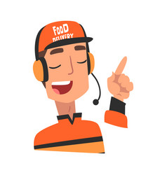 Food express delivery service male call center vector