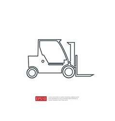 forklift truck line icon warehouse fork loader vector image