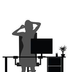 Girl in office with mobile phone vector