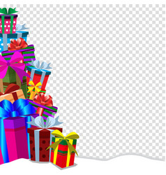 Greeting card clip art with heap of gifts on snow vector