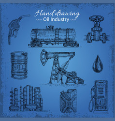 hand drawing oil elements vector image