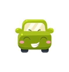 Happy Green Car Emoji vector image vector image