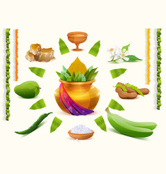 Happy Ugadi Set Holiday accessories Gold pot vector