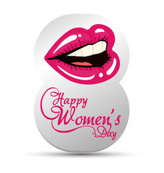 happy womens day eight with lips girl vector image