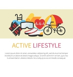 Healthy lifestyle banner Fitness and active vector image