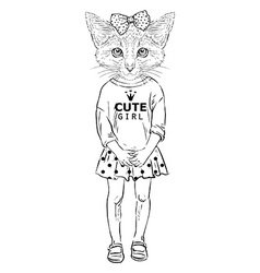 Humanimal kitty girl vector