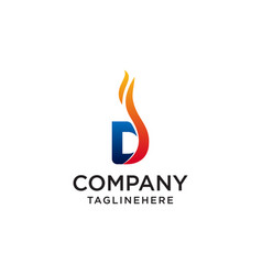 initial letter d fire logo design fire company vector image